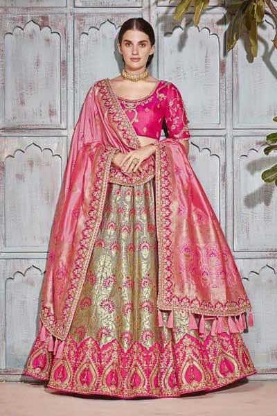Designer Banarasi Silk Lehenga Choli in Pink and Slate Grey