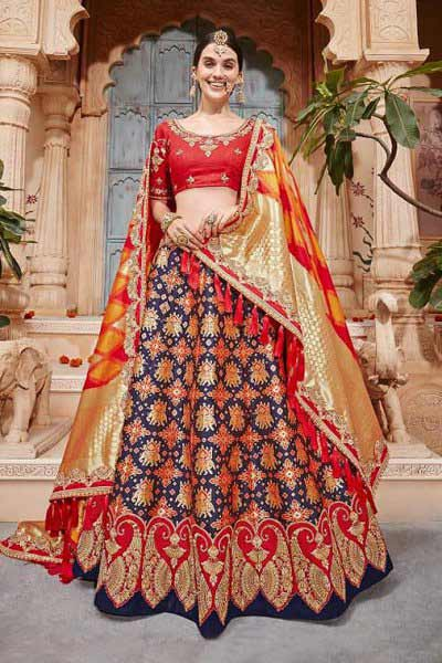 Glam Ruby Red and Navy Blue Jacquard Silk Lehenga with Contrasting Dupatta