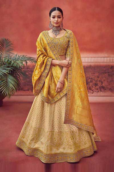 Royal Yellow Lehenga in Pure Jacquard Silk