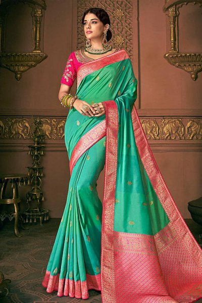 Pure Banarasi Silk Embroidered Saree in Jade Green