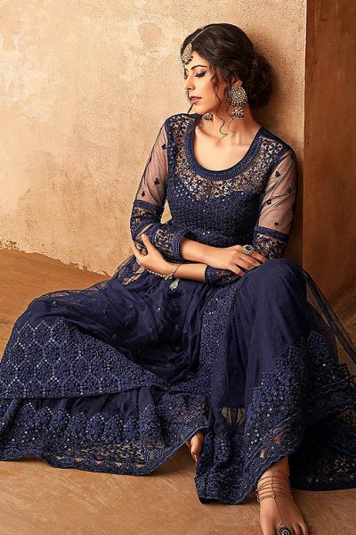 Floral Embroidered Net Sharara Suit in Navy Blue