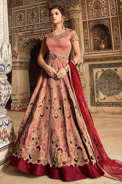 Silk Anarkali Suit with Zari Embroidery in Maroon Colour