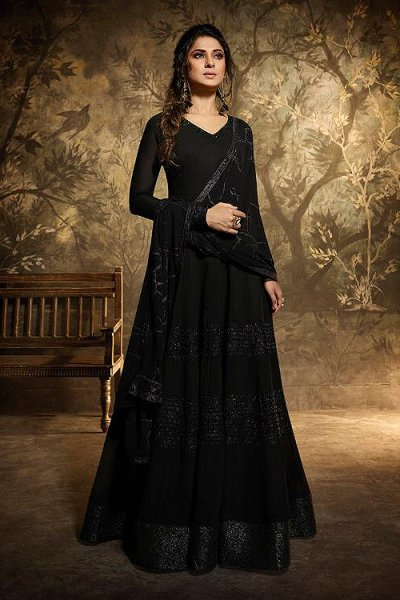 Beautiful Black Georgette Anarkali Suit with Unique Dupatta