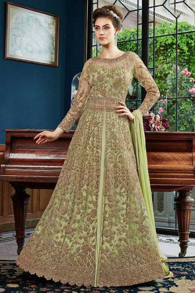 Sophisticated Light Green Anarkali Suit with Fancy Embellishments