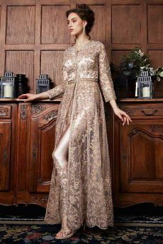Elegant Golden Brown Anarkali Suit with Chiffon Dupatta