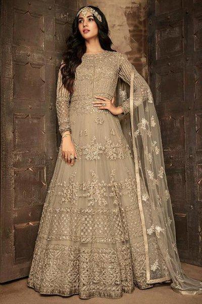 Majestic Beige Anarkali Suit with Matching Dupatta