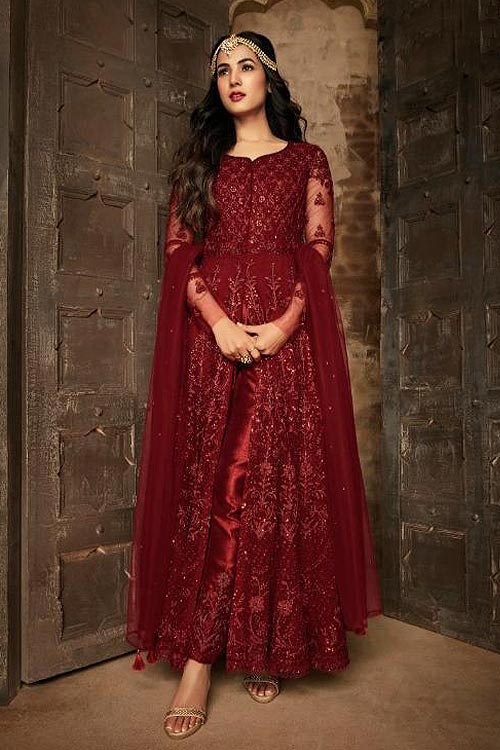 Buy Ravishing Anarkali Suit With Net In Deep Red Colour ...