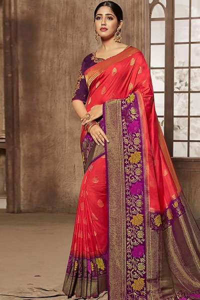 Red and Purple Embroidered Jacquard Silk Saree