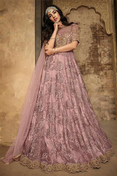 Party Wear Lilac Net Anarkali Suit with Embroidery and diamonds work