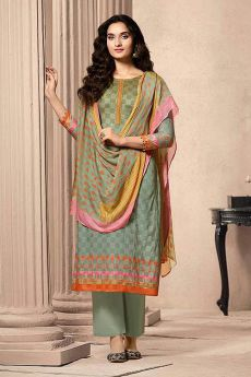 Sage Green Designer Straight-style Cotton Salwar Suit