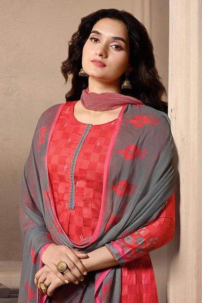 Ready to Wear Designer Straight-style Cotton Silk Salwar Suit in Crimson Colour