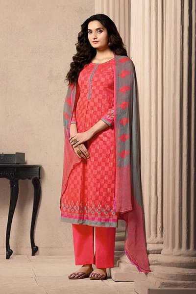 Designer Straight-style Cotton Salwar Suit in Crimson Colour