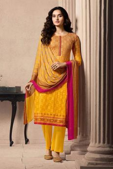 Brown and Yellow Designer Straight-style Cotton Salwar Suit
