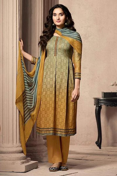 Ready to Wear Tan brown and yellow Designer Straight-style Cotton Salwar Suit
