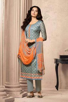 Grey and orange Designer Straight-style Cotton Salwar Suit