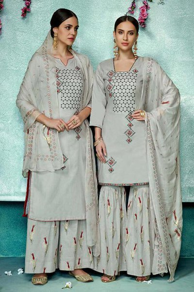 Beautiful Grey Printed Pure Cotton Silk Palazzo/Sharara Suit