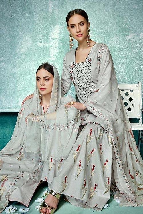 23f9e0e070 Buy Beautiful Grey Printed Pure Cotton Silk Palazzo/sharara Suit ...