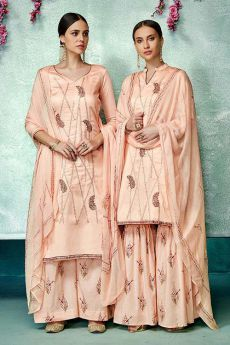 Gorgeous Peach Printed Pure Cotton Silk Palazzo/Sharara Suit