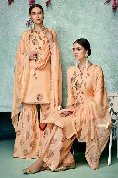 Enchanting Peach Printed Pure Cotton Silk Palazzo/Sharara Suit