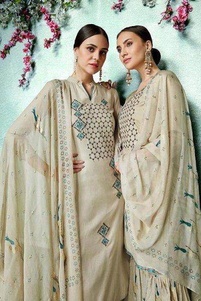 Ready to Wear Stunning Ecru Beige Cotton Silk Palazzo/Sharara Suit