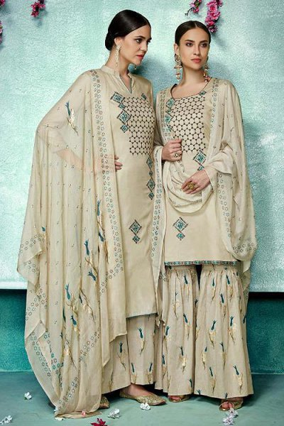 Stunning Beige Printed Pure Cotton Silk Palazzo/Sharara Suit