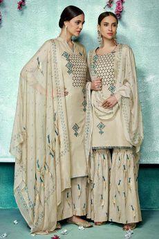 Stunning ecru beige  Cotton Silk Palazzo/Sharara Suit