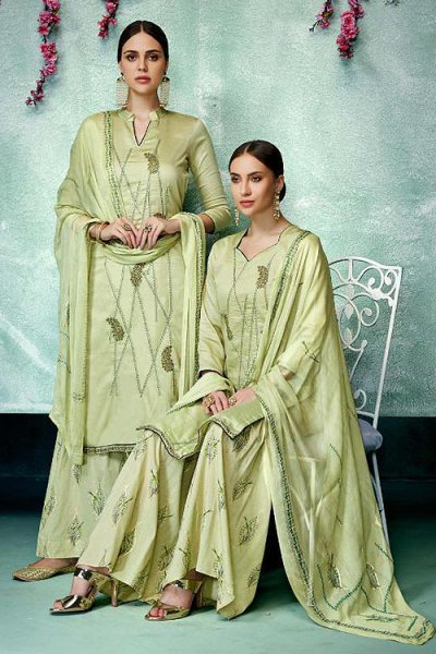 Gracious Pistachio Green Printed Pure Cotton Silk Palazzo/Sharara Suit