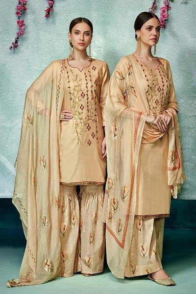 Ready to Wear Beige Printed Pure Cotton Silk Palazzo/Sharara Suit