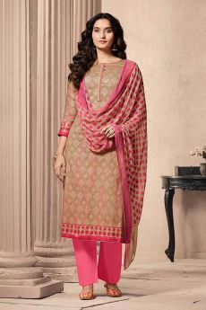Beige and Pink Designer Straight-style Cotton Salwar Suit