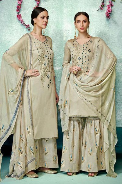 Charming Beige Printed Pure Cotton Silk Palazzo/Sharara Suit