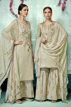 Charming Champagne colour Printed Pure Cotton Silk Palazzo/Sharara Suit