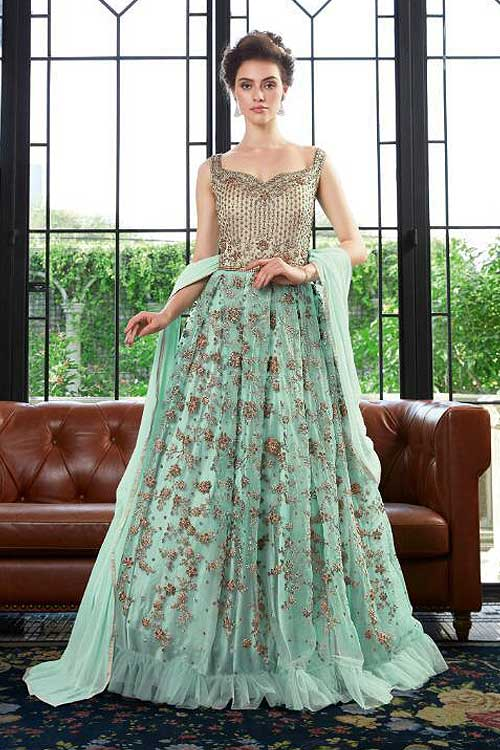 Party Wear Floral Embroidered Anarkali Dress in Net