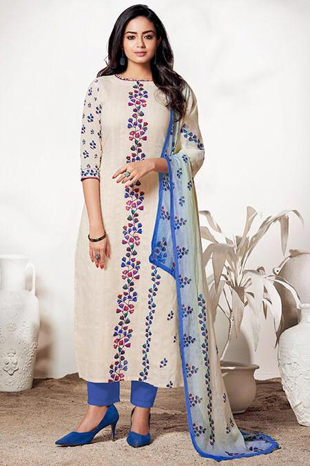 Ready to Wear Pure LINEN Off White & Blue Suit