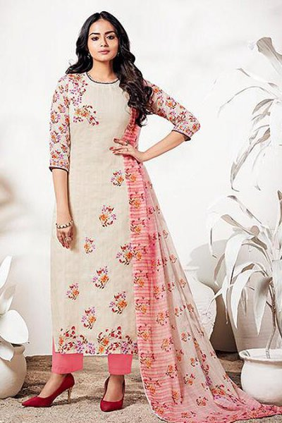 Off White & Pink Pure Linen Suit With Digital Print & Handwork