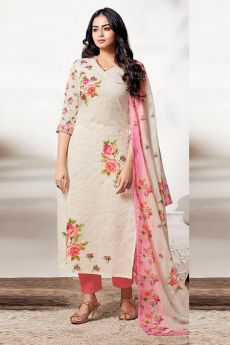 Off White & Punch Pink Suit in Pure Linen
