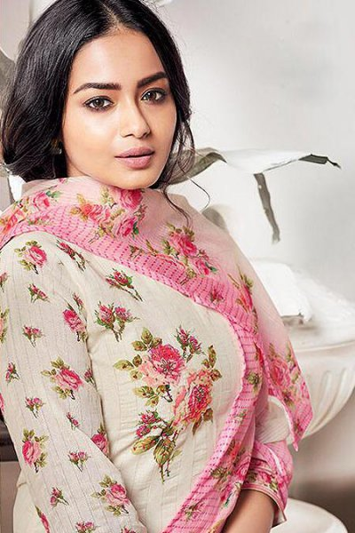 Ready to Wear Pure LINEN Off White & Pink Suit