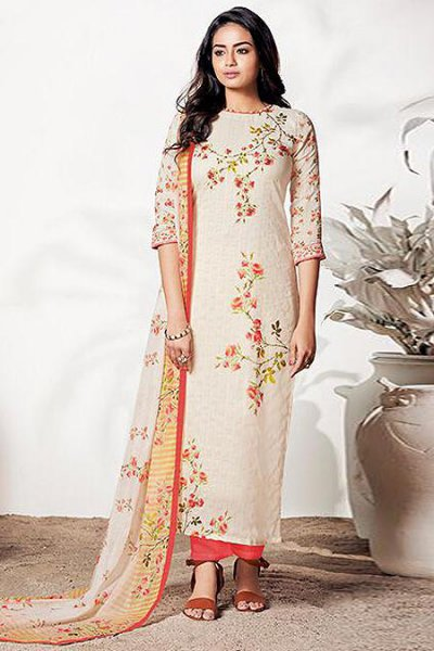 Off White & Rouge Pink Salwar Kameez in Pure Linen