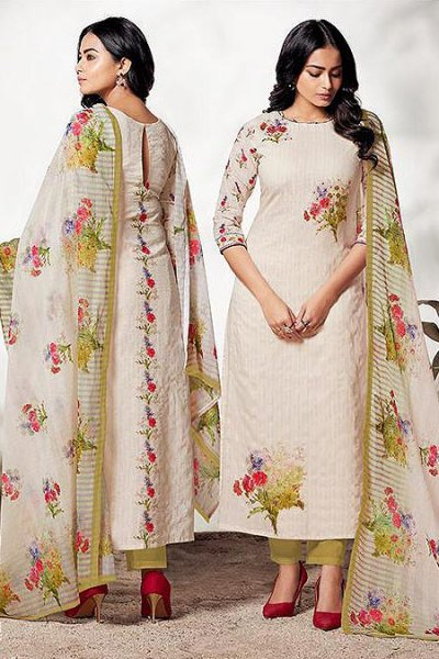 Off White & Green Pure Linen With Digital Print & Handwork