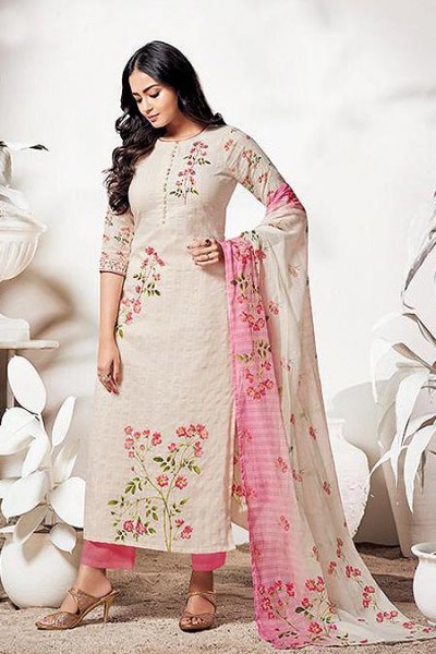 Pure LINEN Off White & Pink Suit