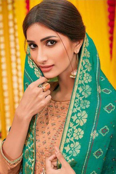 Ready to Wear Gorgeous Cotton Silk Palazzo Suit with Dola Silk Bandhani Dupatta