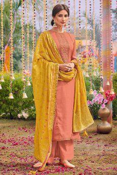 Ready to Wear Enchanting Cotton Silk Salwar Kameez with Dola Silk Bandhani Dupatta