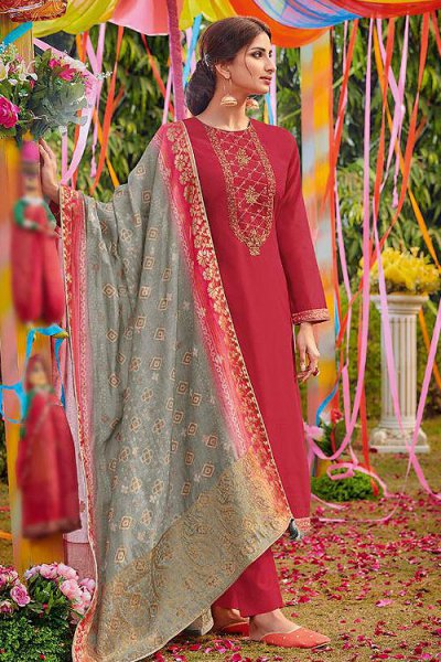 Ready to Wear  Cotton Silk Salwar Kameez with Dola Silk Dupatta