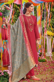 Radiant Ruby Red Cotton Silk Salwar Kameez with Dola Silk Bandhani Dupatta