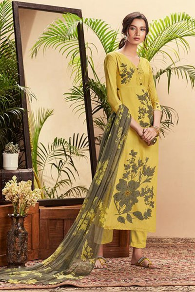 Yellow Pure Cotton Silk printed Salwar Kameez With Beautiful Chiffon Dupatta