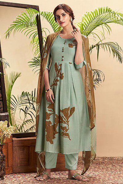 Pastel Green PURE Cotton Silk Printed Salwar Kameez with brown Chiffon Printed Dupatta