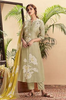 Olive Green Pure Cotton Silk printed Salwar Kameez With Beautiful Chiffon Dupatta