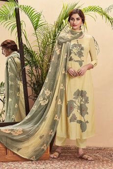 Light lemon Yellow Pure Cotton Silk printed Salwar Kameez With Beautiful Chiffon Dupatta