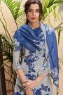 Smoke Blue Pure Cotton Silk printed Salwar Kameez With Beautiful Chiffon Dupatta