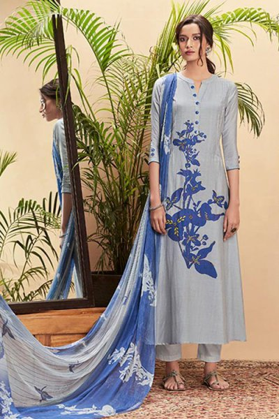 Smoke Blue Pure Cotton Silk printed Salwar Kameez With Beautiful Chiffon Dupatta