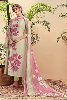 Off White Pure Cotton Silk printed Salwar Kameez With Beautiful Chiffon Dupatta